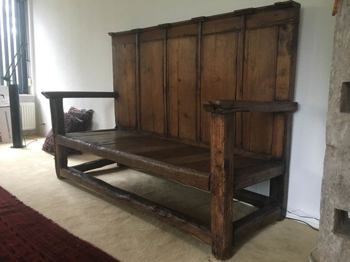 Antique French Castle Bench With High Back Without Reserve Price 18 19th Century Catawiki