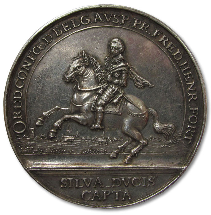 Netherlands - Spanish Netherlands - 59mm medal 1629: 's Hertogenbosch taken & Betuwe liberated from the Spanish by Frederik Hendrik AR commemorative medal - Zilver