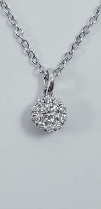Salvini - 18 kt. White gold - Necklace with pendant - 0.25 ct Diamond