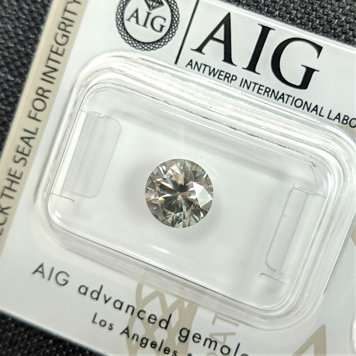 Diamant - 1.31 ct - Brillant - Fantaisie gris - SI1