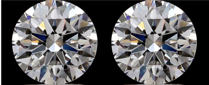2 pcs Diamanten - 2.08 ct - Brillant - D (farblos) - IF (makellos), LC (lupenrein)