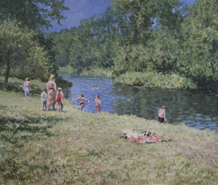 Chris van Dijk (1952) - 'Swimming in the river'