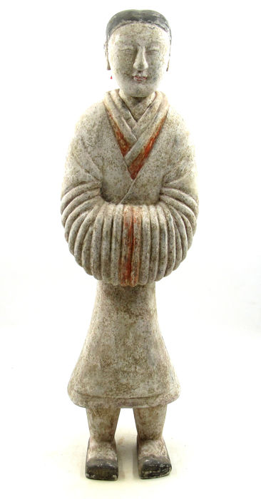 Oude Chinese Han-dynastie Terracotta Painted Court Lady - 640 mm - TL getest