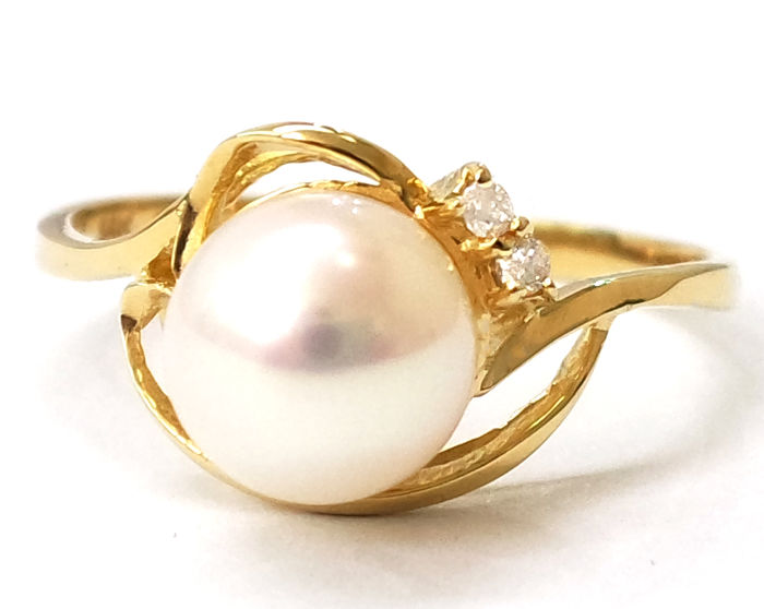 14 kt 7,5 mm, Akoya-Perle, Gelbgold - Ring - Diamant