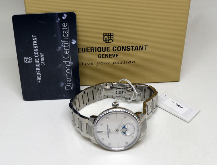 Frédérique Constant - Manufacture Slimline Moonphase 68 Full Cut Diamonds (total: 0.4972 carat)  - FC-703SD3SD6B  - Unissexo - 2011-presente