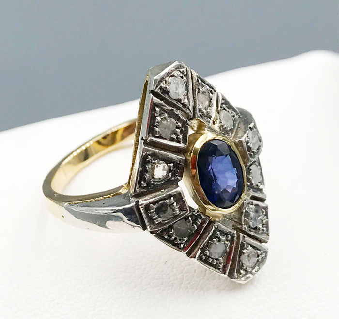 18 kt. Yellow gold - Ring - 0.98 ct Sapphire - Diamonds