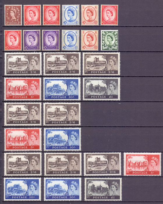 Great Britain 1930/1960 - Composition of GB stamps with some high