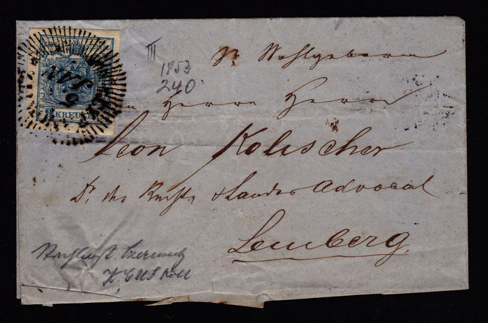 "Oostenrijk 1853 - 9 kr, with ""Strahlenstempel"" (postmark with rays) on letter ""Czernowitz"""