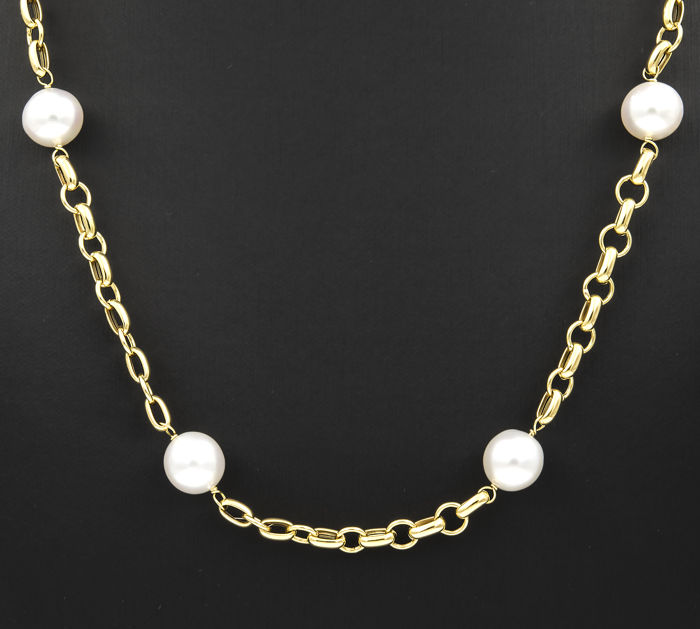 18 kt. South sea pearls, Yellow gold - Necklace Pearl