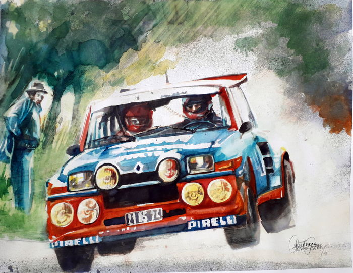 Originele aquarel door Gilberto Gaspar - Renault 5 Maxi Turbo - 2019