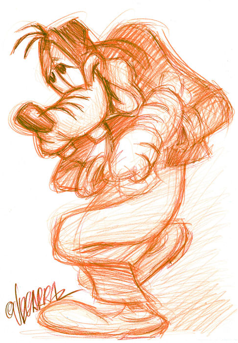 Fluorescent Goofy - Original Sketch - Joan Vizcarra - Pencil Art