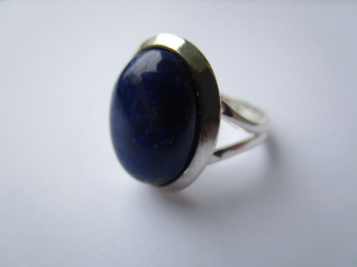oval Cabochon - 925 Zilver - Ring - 2.50 ct Lapis lazuli