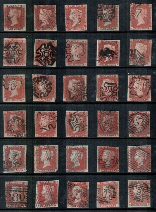 Groot-Brittannië 1841/1853 - 1 penny red plate selection - Stanley Gibbons SG8/10