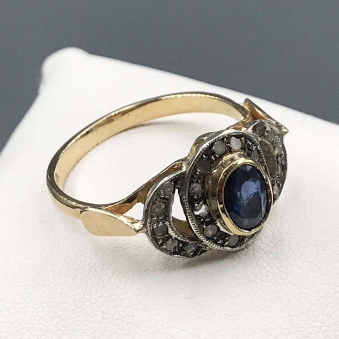 18 kt. Silver, Yellow gold - Ring - 0.35 ct Antique cut diamonds with three facets - Sapphire