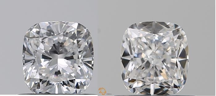 2 pcs Diamanten - 1.03 ct - Cushion - D (kleurloos) - IF (intern zuiver), LC (loepzuiver)