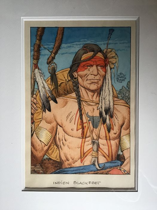 Blanc-Dumont, Michel - Illustration originale en couleurs directes - Indien Blackfeet
