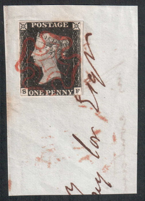 Groot-Brittannië 1840 - penny black with red Maltese Cross - Stanley Gibbons 2