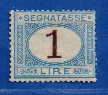 Italy Kingdom 1870 - Postage due L. 1 light blue and brown - Sassone N. 11
