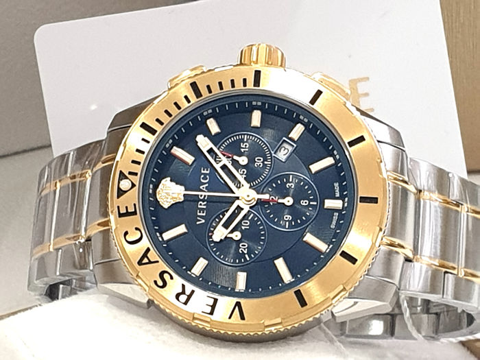 Versace - XXL Casual Chronograph Swiss Made - Blue Dial - Two Tone - VERG00618  - Steel & IP Gold 18K - Nuovo - Garanzia - Homme - New