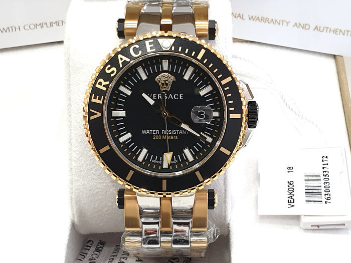 Versace - V-RACE - Two Tone Steel & IP Gold 18K -  VEAK00518 - Swiss Made - Nuovo - Garanzia - Hombre - New