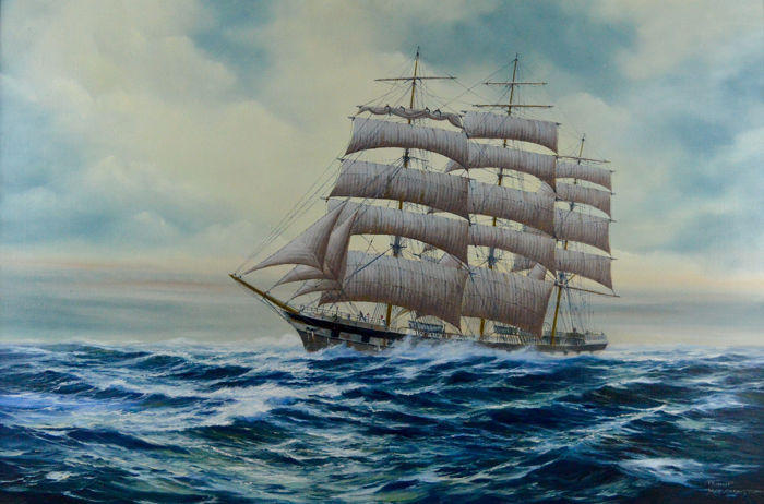 Philip Marchington (1934-) - The sailing vessel Mount Stewart on the high seas