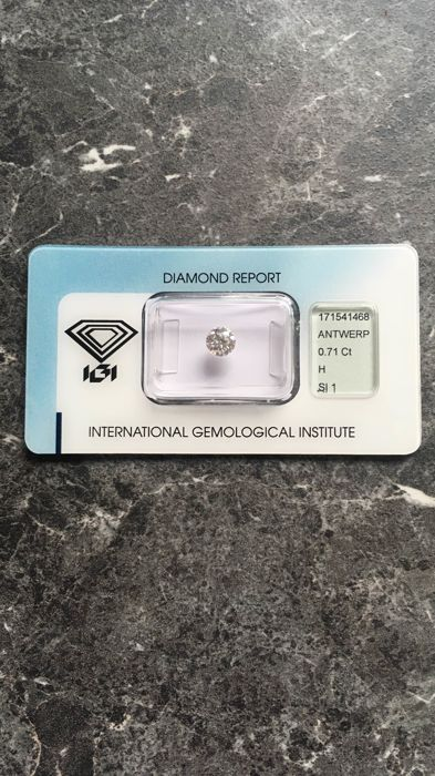 1 pcs Diamond - 0.71 ct - Brilliant - H - SI1