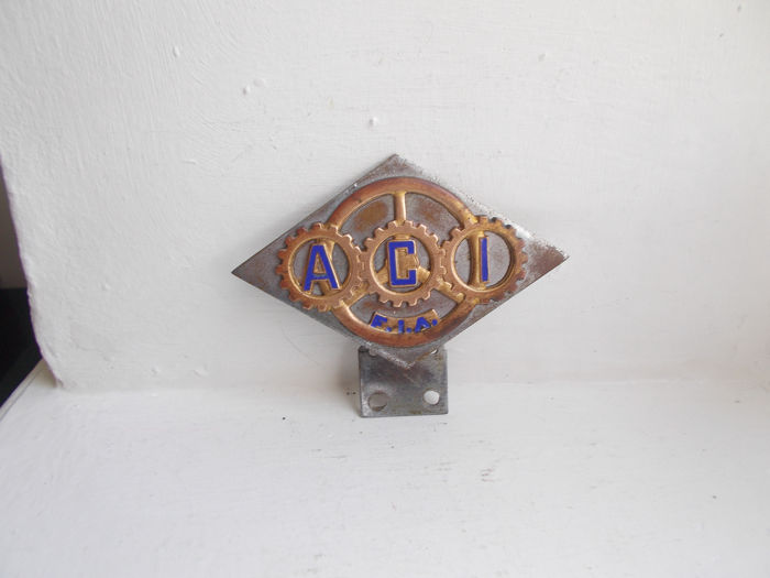 Insigne - A.C.I  Automobile club d Italia  F.I.A chrome on brass and enamel car badge stunning  - 1946-1960 (1 items)