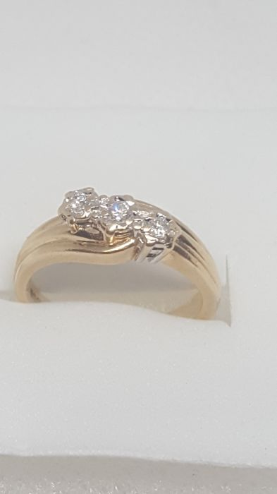 Gelbgold, Platin - Ring - 0.35 ct Diamant - Diamanten