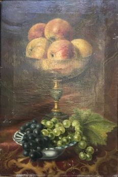 Italian School - Still life apples and grapes