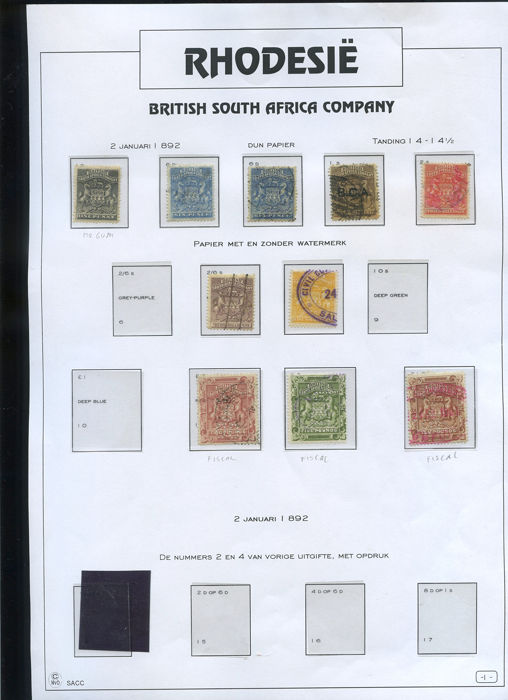 Rhodesië 1892/1922 - British South Africa Company/ Rhodesia collectie