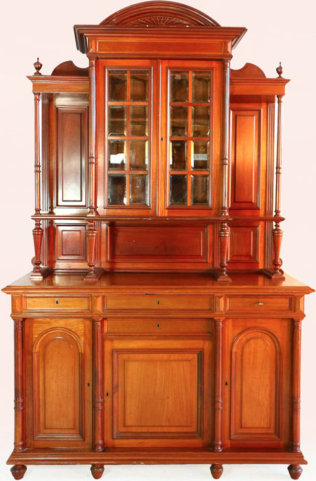Louis philippe tall buffet cabinet with cut-glass - Mahogany - Second half 19th century