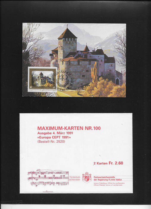 Liechtenstein 1978/2002 - Complete collection of 545 maximum cards MK - Michel MK 1 al 206 y del sello 706 al 1295