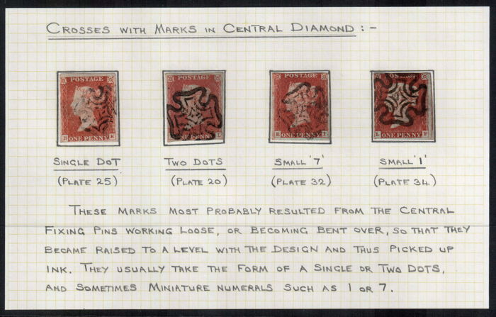 Groot-Brittannië 1870 - 1d red-brown obliterated by Maltese Cross with marks in central diamond - Stanley Gibbons 8
