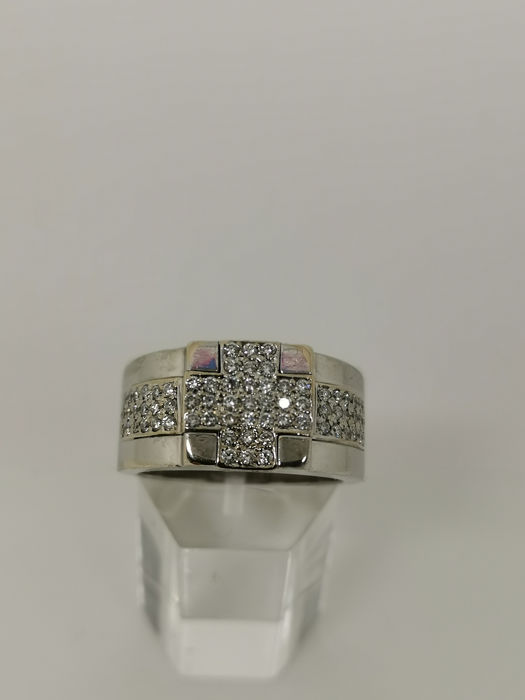 18 kt. White gold - Ring - 0.02 ct Diamond - Diamonds