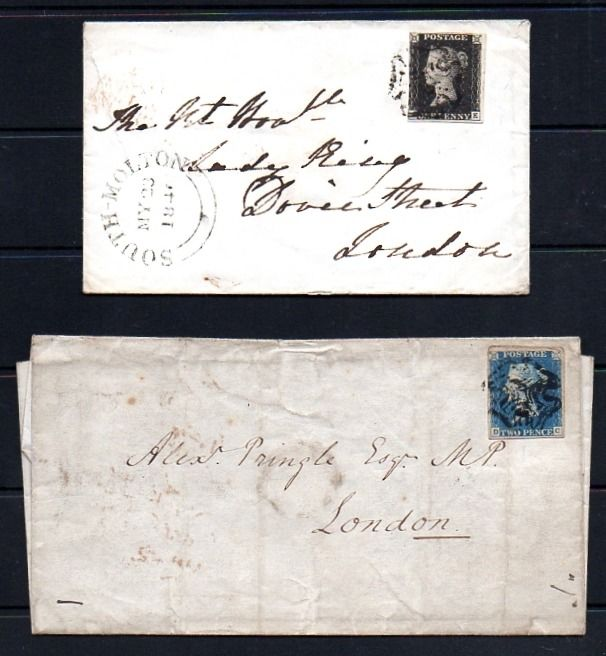 Groot-Brittannië - Engeland 1840 - QV 1d Black Plate 5 Cover and 2d Blue Plate 1 Lettersheet - Stanley Gibbons 2 and 5