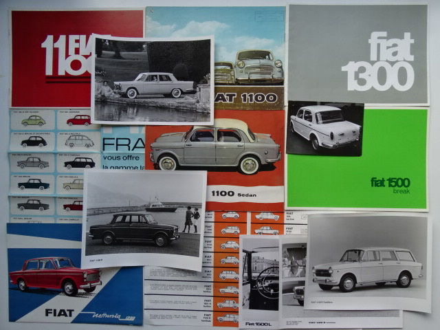 Brochures, catalogi & Factory Foto's - FIAT 1100, 1100 D, 1100 R, 1200 Nettunia, 1300, 1500 Break, 1500 L, etc - 1958-1968 (14 items)