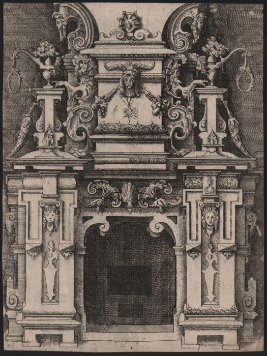 Wendel Dietterlin (1550-1599) - Fireplace with skull and heads  - Prov. Royal collection Munich