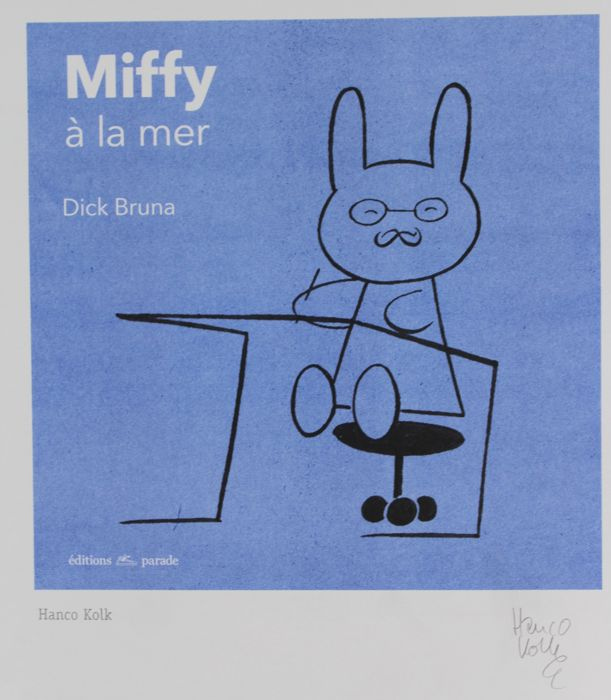 Hanco Kolk - Prent - Miffy à la mer - Homage to Dick Bruna - (2017) Comics Artist & Series, used for sale