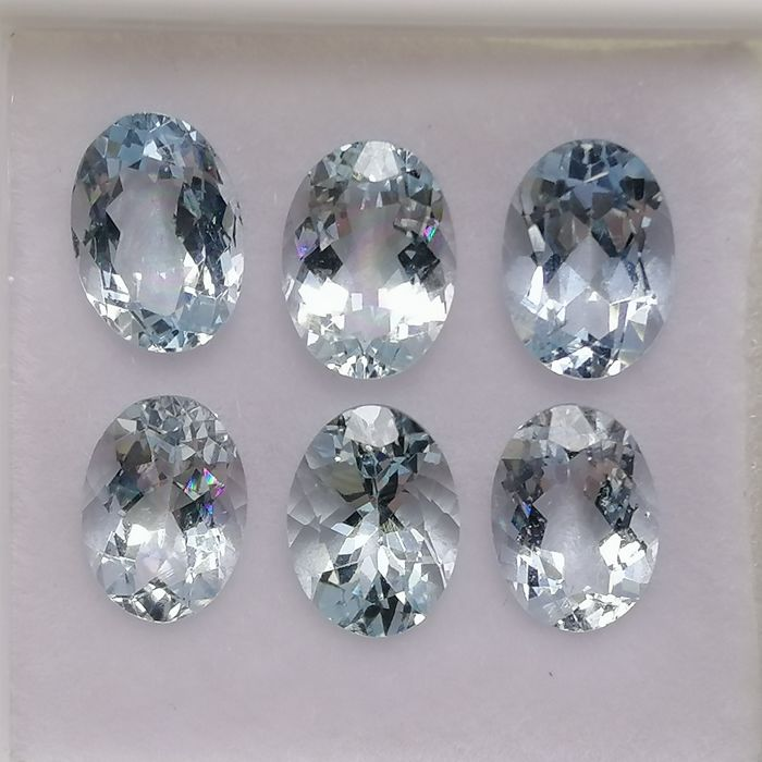 6 pcs  Aquamarijn - 4.41 ct