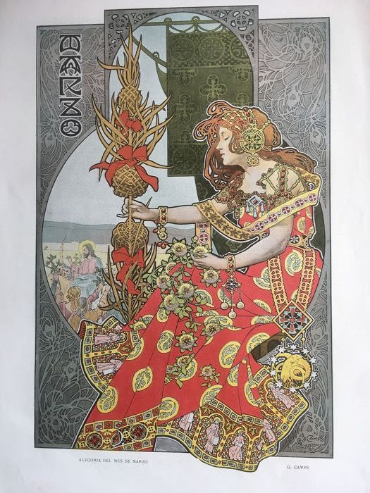 """Gaspar Camps - Lithographie """"March Allegory"""""""