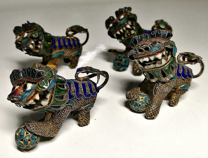 Collezione di 4 Cani di Pho in Argento Cinese - Cloisonné emaille, Filigraan, Verguld, Zilver - China - Midden 20e eeuw
