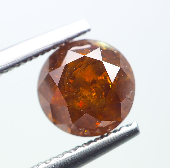 Diamant - 1.29 ct - Natural Fancy DEEP Brownish Orange - I3 *NO RESERVE*