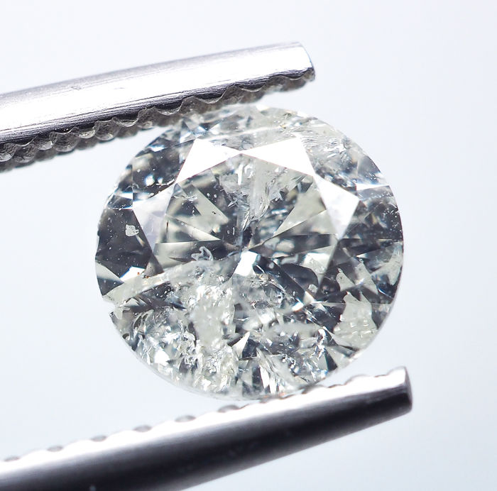 Diamant - 0.90 ct - Natural White - K color - I2 *NO RESERVE*