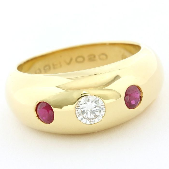 Cartier - 18 kt. Yellow gold - Ring - 0.20 ct Ruby - Diamond