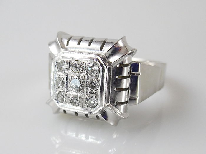 18 kt. White gold - Ring - 0.33 ct Diamond