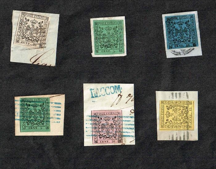 Italië 1852 - ASI, Modena, lot of 6 new stamps on fragment - Sassone Modena N° 1, 2 ,3, 4, 7, 10