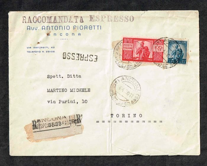 Italië - Republic, express registered mail for Turin with Dem. L 100 + complement