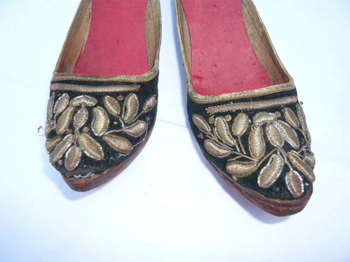 Used, old black velvet shoes and embroidered with gold (1) - shoes Curio Kitchen Utensils & for sale