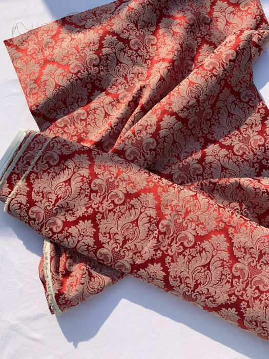 2.80 x 2.90 METERS san leucio fabric - red - Louis XVI - Cotton, Satin