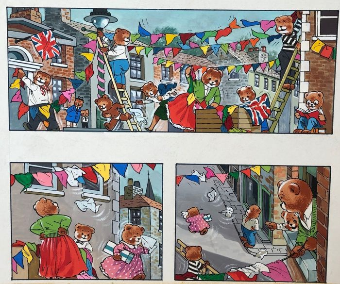 Phillipps, William Francis  - 2x Original page (gouache) - Teddy Bear - Published in Jack & Jill - (1970)